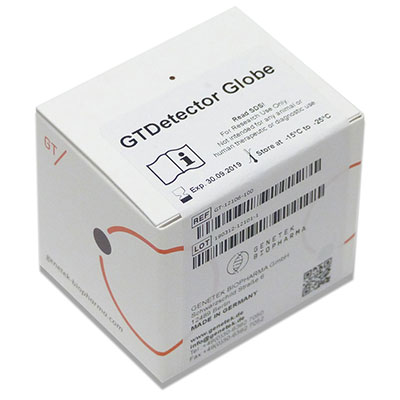 GTDetector Globe kit box with reagents for CODIS Core STR markers for forensic cases, parentage identification & research use