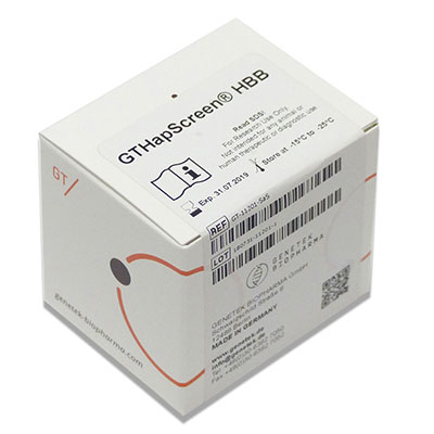 Kit box containing GTHapScreen HBB reagents for Beta Thalassemia prenatal screening