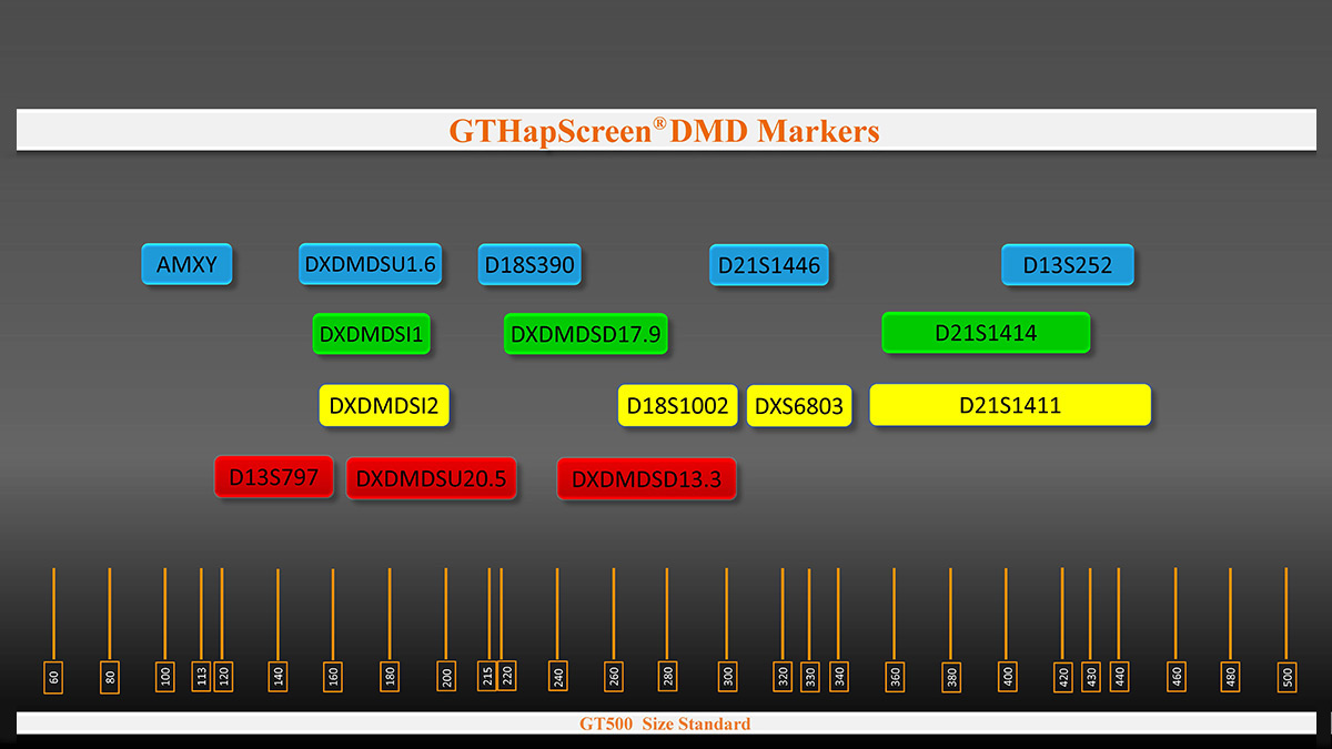 Marker arrangement in GTHapScreen DMD 5-dye QF-PCR kit for Duchenne or Becker Muscular Dystrophy diagnosis