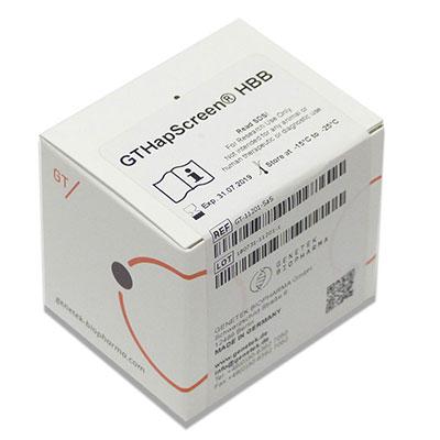 Kit box containing GTHapScreen HBB reagents for Beta Thalassemia prenatal screening